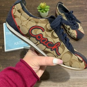Coach Signature pattern Lace-up Sneakers Size 9